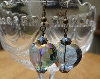 Vintage Style Ultra Faceted Heart Rainbow Crystal Earrings – ERU062