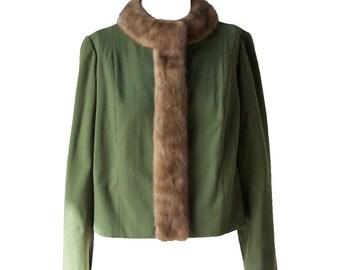 Amazing 50s / 60s Emerald Green Wool Coat with Mink Trim