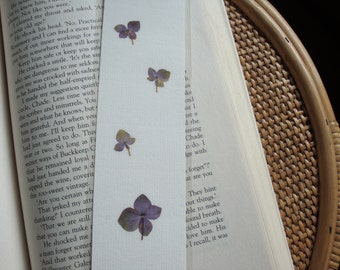 Pressed flower bookmark - Blue Hydrangeas