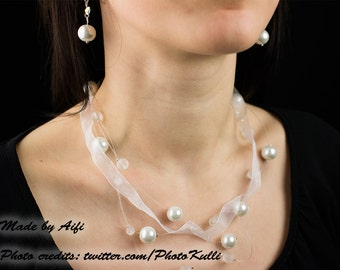Wedding jewelry - white ribbon-pearl earring and necklace set
