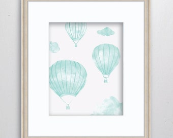 Up In The Air Watercolor Print - SMc. Originals, watercolor painting, hot air balloon, nursery decor, nursery art, balloon print,balloon art