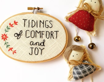 Comfort and Joy Embroidery Art on a Vintage Linen