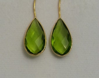 24K Gold plated Peridot Teardrop Earrings