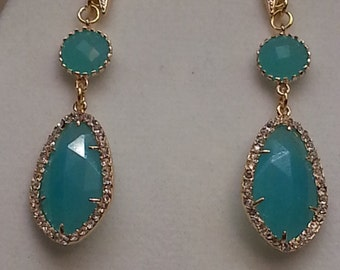 Aqua Chalcedony earrings with gold plated and CZ studded bezel and hooks.