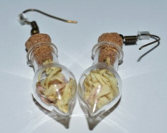 Real Dried White Peony Magical Flower Glass Vial Earrings