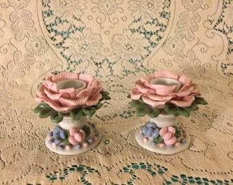 Pink flower porcelain candle holders