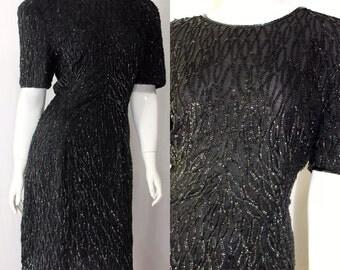 Black Vintage 80's era dress by Stenay