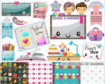 Back to School Clipart, 80%OFF, Back to School Graphics, COMMERCIAL USE, Study, School Clipart, Planner Accessories, College Clipart