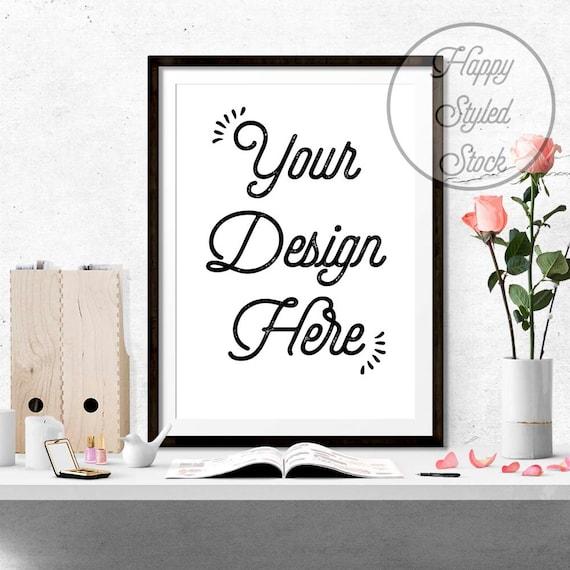 styled poster frame mockup 8x10 16x20 24x30 vertical digital black frame desk mockup
