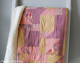 Purple and Gold Quilt, Twin Size Bed Quilt, Gold Large Throw Quilt, Pink Gold Purple Twin Size Quilt, Large Lap Quilt, Elegant Gold Quilt