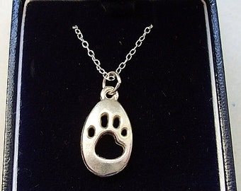 Sterling Silver Cat Paw Print Pendant on 18inch Chain