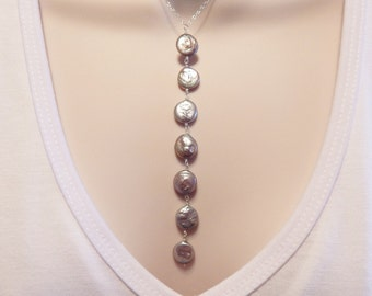 Coin Pearl Necklace - Pearl Y Necklace - Pearl Jewelry - Grey Pearl Y necklace - Sterling silver Jewelry - Grey Coin Pearls - Pearl Lariat