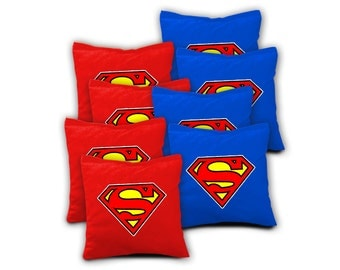 SUPERMAN Set Of 8 Regulation Cornhole Bags Bean Bag Toss
