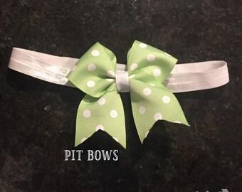 Green Polka Dot Mini Bow Headband