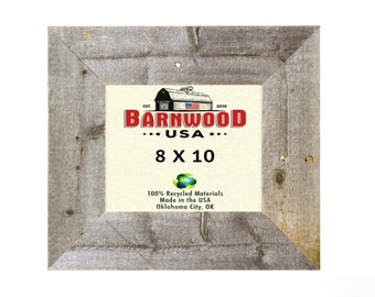 """Barnwood Rustic Picture Frames 8x10"""", Weathered Gray, 3"""" Wide Frames, Farmhouse Decor"""