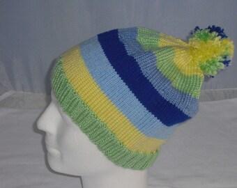 Cap - striped - Knit Beanie KU 52-61 cm - cap - Bobble Hat - wool hat