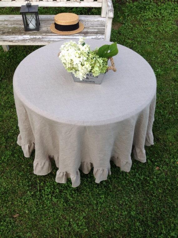 leinen tischdecke mit r schen aus stonewashed weiche. Black Bedroom Furniture Sets. Home Design Ideas
