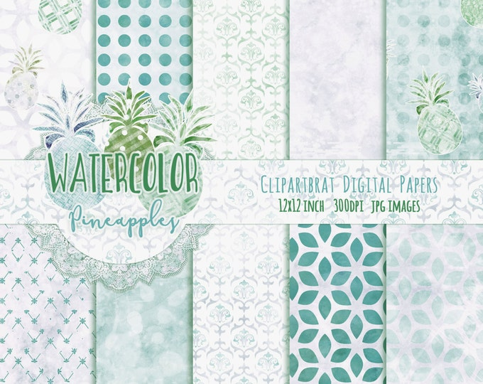 TROPICAL BEACH Digital Paper Pack Commercial Use Seamless Digital Paper Aqua Pineapple Watercolour Paper Digital Backgrounds