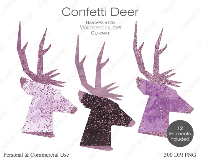 WATERCOLOR DEER Clipart Commercial Use Clipart 12 Watercolor Deer Head Graphics Purple Pink Metallic Confetti Stag Buck Antlers Clip art