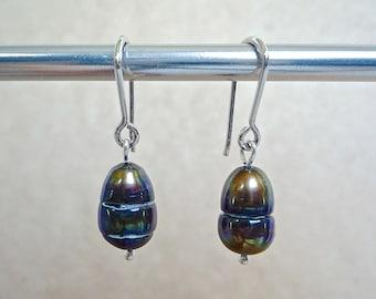 Brown pearl earrings, Sterling silver wires, Warm lustrous dark brown freshwater pearl dangles, Irregular pearl earrings