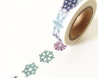 Snow crystal print washi tape // Blue and purple