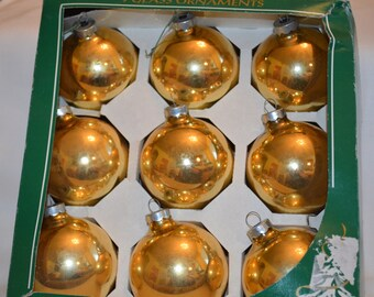 Metallic Vintage Gold Glass Ornaments,  Christmas Ornaments,  Vintage 1970's