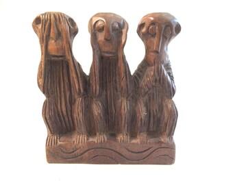 Vintage Hand Carved Wooden Three Wise Monkeys Statue