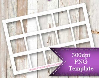 """INSTANT DOWNLOAD  1"""" Square Template,  4""""x6"""" Transparent PNG"""