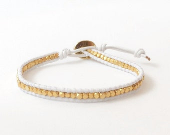 White and Gold Beaded Leather Wrap Bracelet | Gold Nugget beads | White Leather -  by C. Dahl, 18WTGD