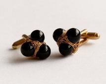 Gold plated onyx cufflinks - luxury cufflinks - wire wrap cufflinks - ooak men's accessories - men's jewelry - handmade men's jewelry