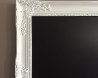 White Framed Magnetic Office Chalkboard Extra Large Shabby Chic Kitchen Chalkboard Ornate Organization Chalk Board
