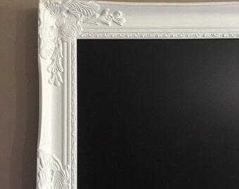 Framed Chalkboard Wedding Sign Large Kitchen Chalkboard White Ornate Chalk board 26x22, 30x24, 34x28, 42x30