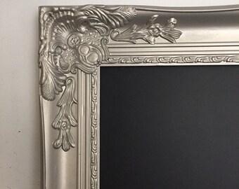 SHABBY CHIC Chalkboard Wedding Chalk Board Ornate Chalkboards Baroque Chalkboard Large Silver Wood Frame