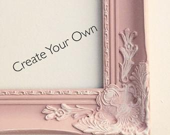 Pink Shabby Chic Frame, White Distress Frame, Wedding decor, Photo Prop, Nursery Decor, Girls Room, Office Decor