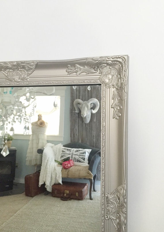 Silver vanity wall mirror for bathrooms nursery and mantle for Baroque style bathroom