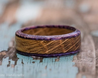 Purple Whiskey Barrel Ring - Tennessee Whiskey Wood Ring Wooden Ring Womens Wedding Band Mens Engagement Ring Wood Anniversary Wood Jewelry
