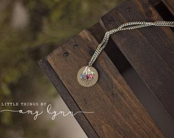 MOM Birthstone Necklace - metal stamp birthstone pearl custom gift