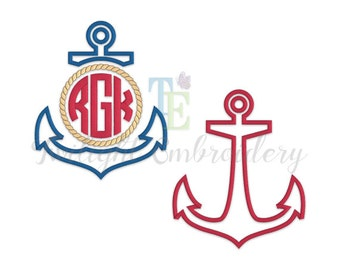 Set of 2 Anchor Applique Machine Embroidery Design, Split Anchor Applique Machine Embroidery Design, Nautical Machine Embroidery Design 0006