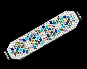 unique Cuff Bracelet beaded handmade beads miyuki, custom