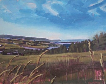 Ridge to Blomidon II Art Print, Landscape, Nova Scotia, Impressionist Painting, Fauvist, Coastal Art
