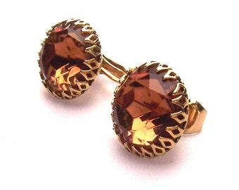 Beautiful Brown Rhinestone and Gold Tone Clip on Earrings - Vintage Elegant Glam Costume Jewelry