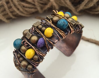 copper bracelet/beaded bracelet/textured jewelry/colorful bracelet/wire wrapped bracelet/copper cuff/jewelry copper/arthritis bracelet/cuff