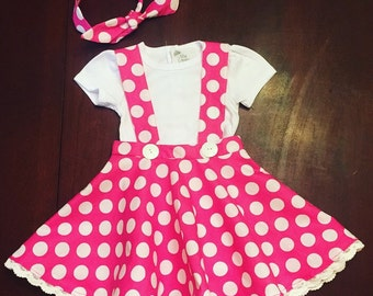 Custom boutique Minnie Mouse dress and shirt