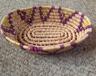 purple and yellow woven basket