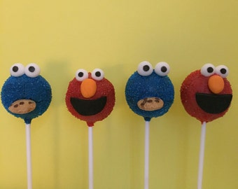 12 Elmo and Cookie Monster Cake Pops