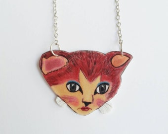 Meowsers Cat necklace // statement jewelry // shrink plastic necklace // quirky jewelry