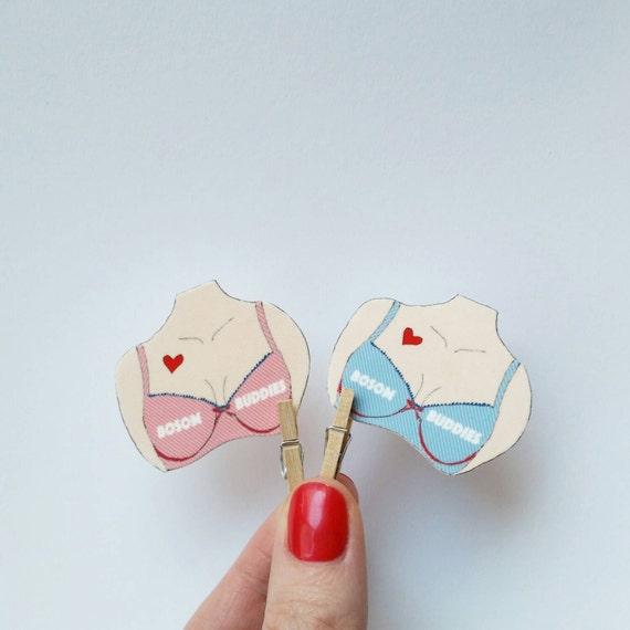 """Brooch // Pin // Friendship set // Best Friend // boobs // shrink plastic // Illustrated """"Bosom Buddies"""" // statement jewelry"""