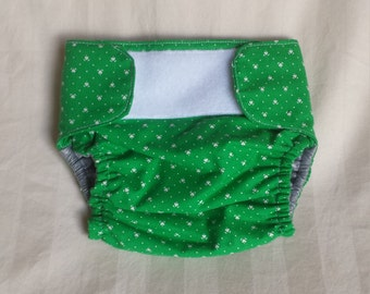 Newborn Cloth Diaper Cover - green and white with hearts, boy or gender neutral