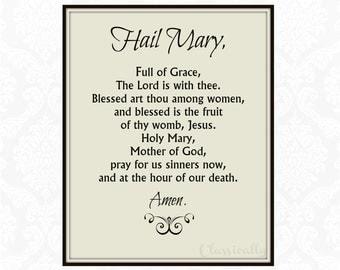 Hail Mary Prayer Printable, Catholic Print, Rosary Prayer, Typographic Print, Christian Print, Inspirational, Instant Download