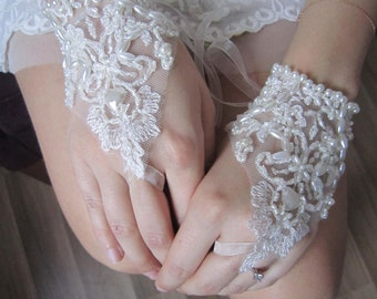 Ivory lace wedding gloves/ french lace, bridal gloves, pearl lace gloves